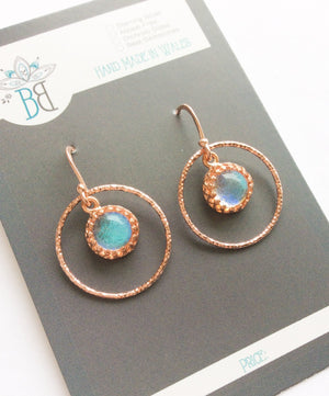 Circular Rose Gold Glass Earrings
