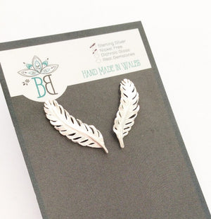 Silver Feather Climber Earrings