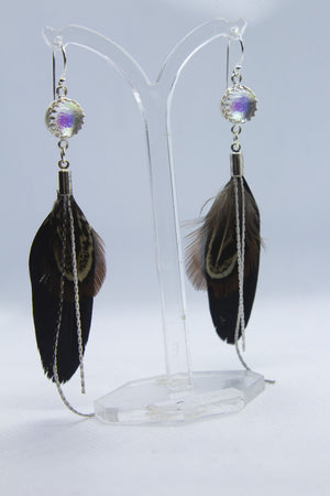 Glass Boho Black Feather Earrings