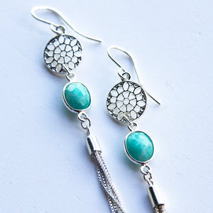 Amazonite Mandala Tassel Earrings - Boho Buffalo Accessories
