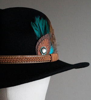 Glass & Feather Black Stetson Hat - Boho Buffalo Accessories