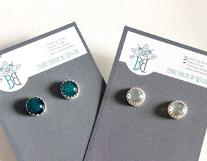 Framed Silver Glass Stud Earrings