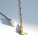 Crescent Charm Moonstone Necklace