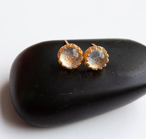 Gold Glass Stud Earrings - Boho Buffalo Accessories