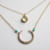 Gold & Turquoise Glass Necklace
