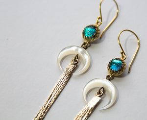 Gold Aqua Crescent Tassel Earrings