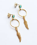 Gold Turquoise Feather Earrings