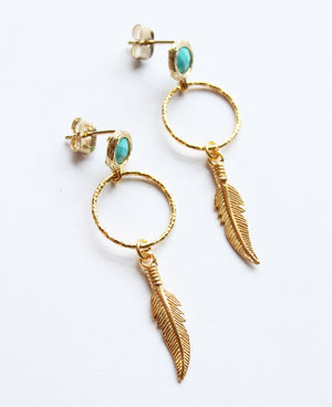 Gold Turquoise Feather Earrings - Boho Buffalo Accessories