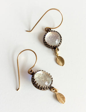 Gold Leaf Drop Earrings  - Various Colours - Boho Buffalo Accessories