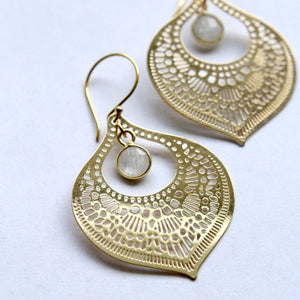 Gold Gemstone Teardrop Earrings