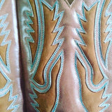 Tan & Turquoise Inlay Western Boots - Boho Buffalo Accessories