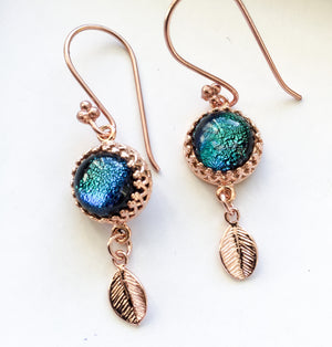 Rose Gold Leaf Drop Earrings  - Various Colours - Boho Buffalo Accessories