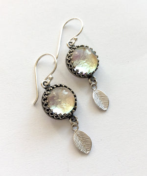 Silver Leaf Drop Earrings  - Various Colours