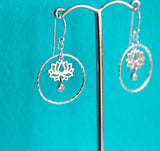 Lotus Flower Silver Earrings - Boho Buffalo Accessories