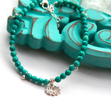 Turquoise Lotus Flower Anklet - Boho Buffalo Accessories