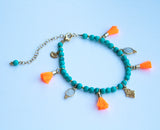 Turquoise & Gold Hamsa Anklet - Boho Buffalo Accessories