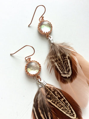 Nude Rose Gold Glass Feather Earrings