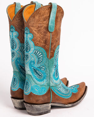Turquoise Embroidered Western Boots