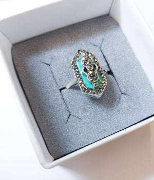 Marcasite Turquoise Ring - Boho Buffalo Accessories