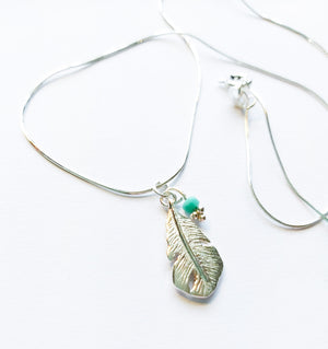 Silver Feather Necklace - Boho Buffalo Accessories