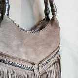Stone Fringed Metallic Shoulder Bag