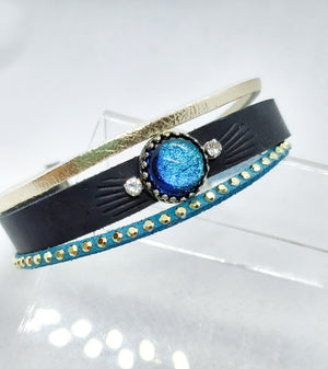 Black Leather Multistrand Glass Bracelet - Boho Buffalo Accessories