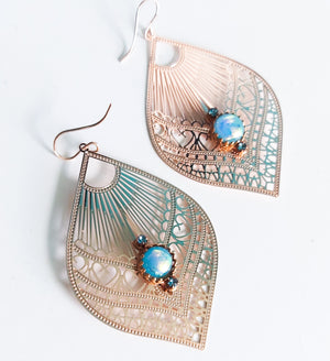 Rose Gold Glass Leaf Earrings