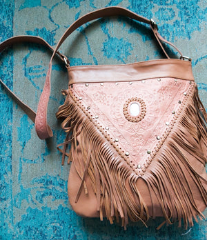 Tan Fringed Shoulder Bag - Boho Buffalo Accessories