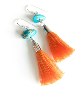 Orange Turquoise Tassel Earrings - Boho Buffalo Accessories