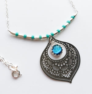 Aqua Silver Glass Teardrop Necklace - Boho Buffalo Accessories