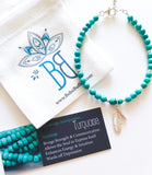 Turquoise Beaded Feather Bracelet - Boho Buffalo Accessories