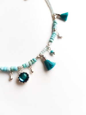 Turquoise Tassel Anklet - Boho Buffalo Accessories