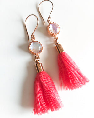 Coral Glass Tassel Earrings - Boho Buffalo Accessories