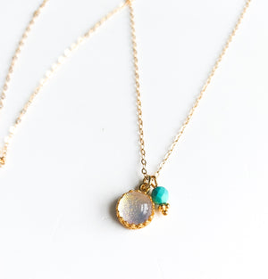Gold & Turquoise Glass Necklace - Boho Buffalo Accessories