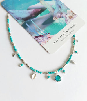 Turquoise Glass Charm Necklace