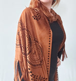 Tan Fringed Western Scarf - Boho Buffalo Accessories