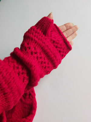 Red Knitted Mittens