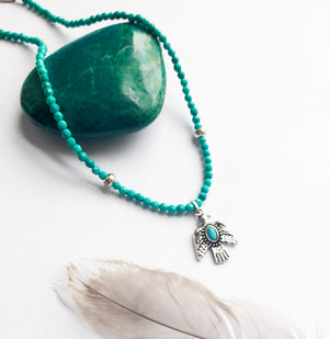 Long Turquoise Thunderbird Necklace - Boho Buffalo Accessories