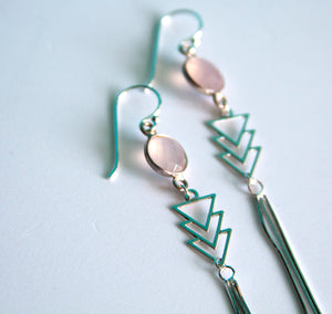 Aztec Pink Chalcedony Chevron Earrings - Boho Buffalo Accessories