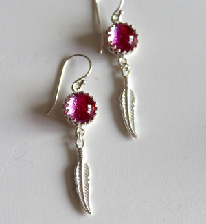 Pink Glass Feather Earrings - LIMITED EDITION - Boho Buffalo Accessories