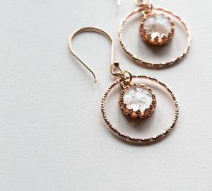 Circular Rose Gold Glass Earrings - Boho Buffalo Accessories