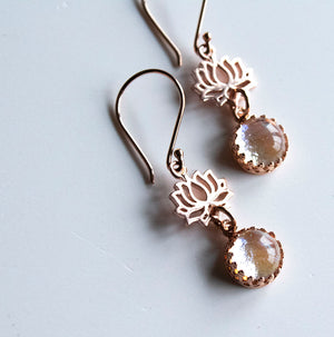 Rose Gold Lotus Flower Earrings - Boho Buffalo Accessories