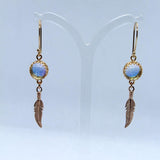 Rose Gold Slim Glass Feather Earrings