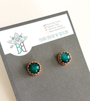 Framed Rose Gold Glass Stud Earrings - Boho Buffalo Accessories
