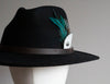 Silver & Peacock Feather Black Fedora Hat - Boho Buffalo Accessories