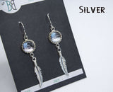 Silver Slim Glass Feather Earrings
