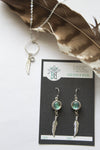 Silver Slim Glass Feather Earrings - Boho Buffalo Accessories