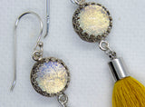Mustard Tassel Glass Earrings - Boho Buffalo Accessories