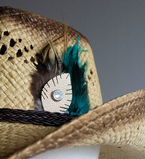 Natural Straw Feather Steston Hat - Boho Buffalo Accessories