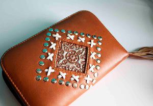 Tan Leather Studded Purse - Boho Buffalo Accessories
